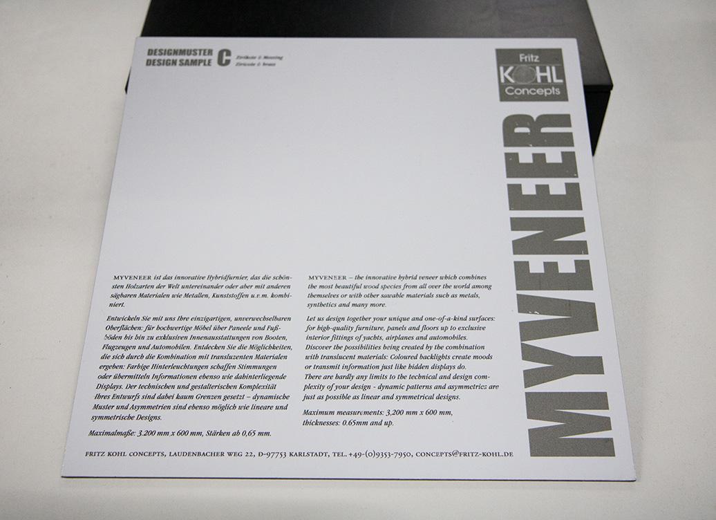 Ansicht Musterbox 9, Materialkombination von Holz, Metall und mehr