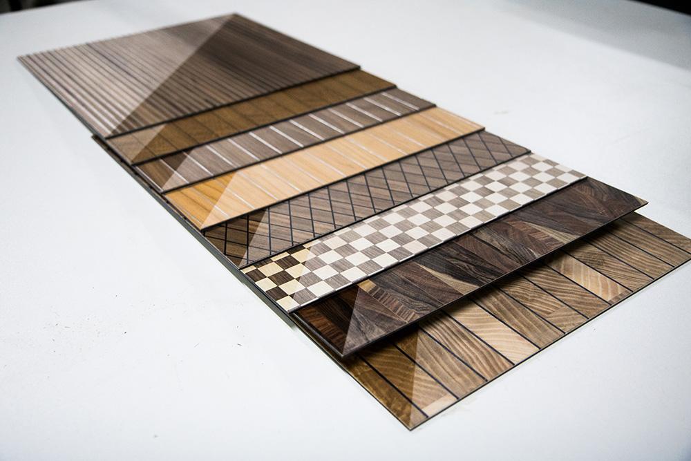 Ansicht Musterbox 11, Materialkombination von Holz, Metall und mehr