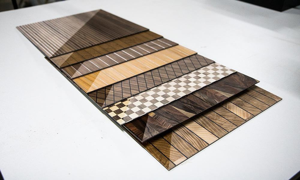 Ansicht Musterbox 15, Materialkombination von Holz, Metall und mehr