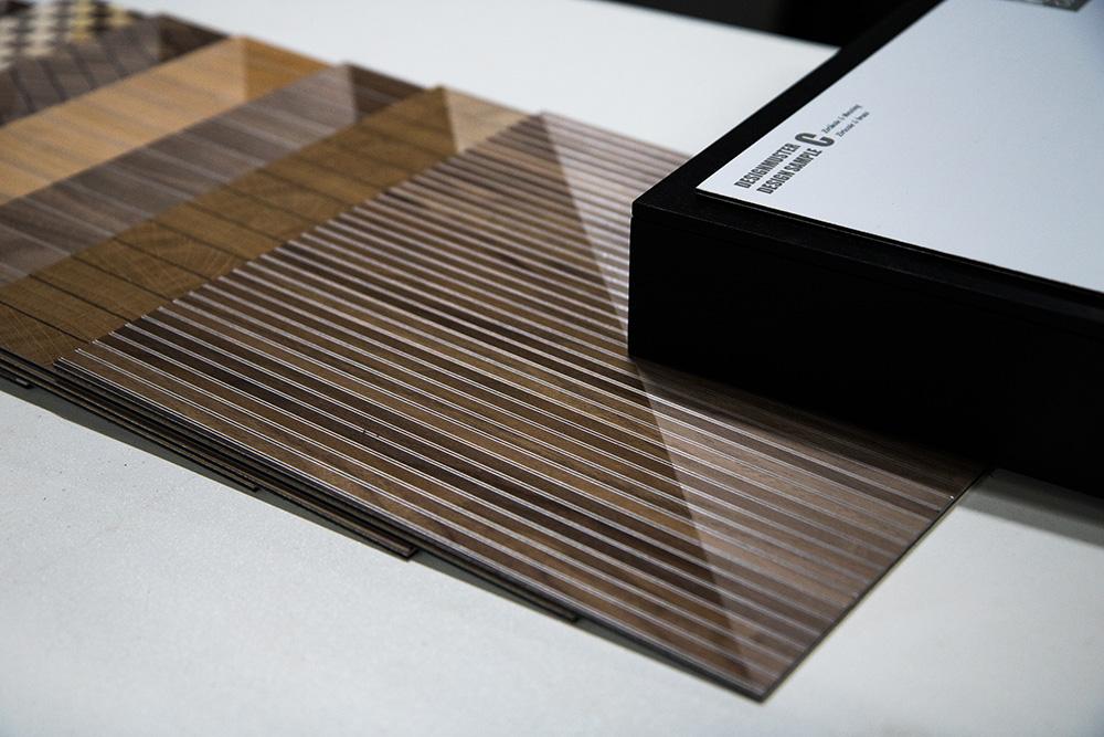 Ansicht Musterbox 7, Materialkombination von Holz, Metall und mehr